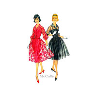 50s Cocktail Dress Sewing Pattern McCalls 5176 Fitted Shirtwaist Dress with Underslip Size 14 Bust 34 Uncut