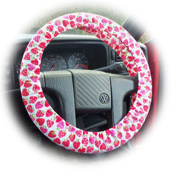 cute Strawberry suprise pink and red print car Steering wheel cover