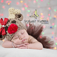 Rudolph the Red Nose Reindeer Crochet Hat .Christmas, Winter, photography prop
