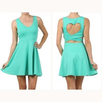 S-L. Flirty Studded Mint Green A-Line Dress w/ Cut-Out Heart Shaped Back