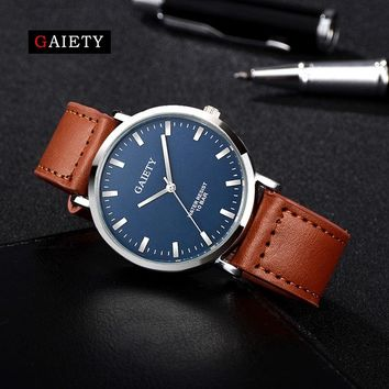 Gaiety Super Slim Quartz Wristwatch Males Business Genuine Leather Casual Quartz Watches Men Sport Clock 2017 New Wrist Relojes
