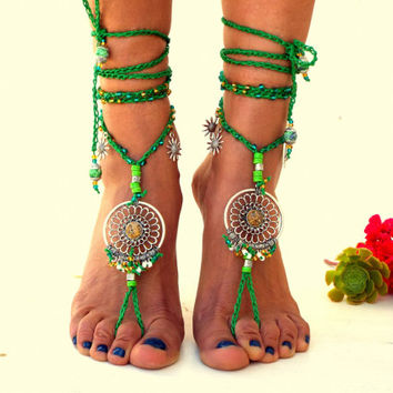 Barefoot Sandals, Barefoot Beach Jewelry,  gemstones Hippie Sandals, Foot Jewelry, Toe Thong, festival accessories, yoga toe, anklet