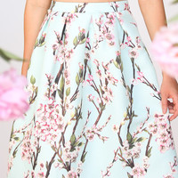 Candace Mint Floral Full Midi Skirt