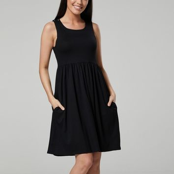 Nursing & Maternity Skater Dress in Black