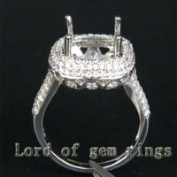 Diamond Engagement Semi Mount Ring 14K White Gold Setting Cushion 10mm