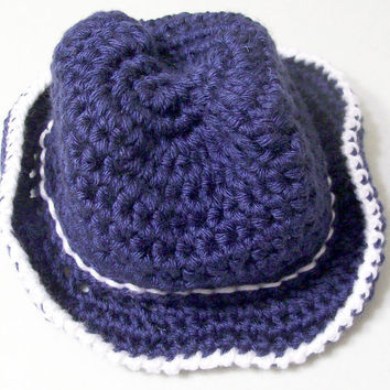 Cowboy Hat- --Navy White -Baby Boy Gift --Crochet --Made in the USA--Baby Shower Gift--