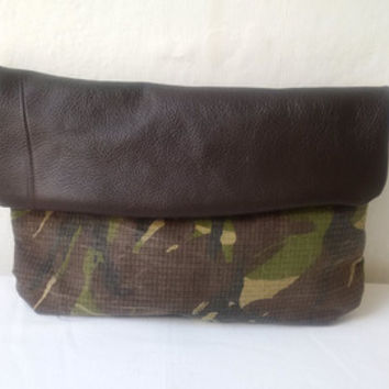 recycled army camouflage clutch bag, leather clutch,army bag, manbag, envelope foldover clutch,pouch, make up bag, camo, toiletries
