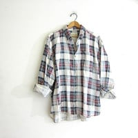 Vintage Grunge Shirt / Boyfriend button up shirt / distressed cotton work shirt