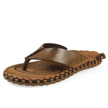 Summer men's Handmade genuine leather woven belt sandals men bling flip flops slides beach slippers