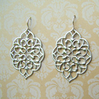 Satin Silver Filigree Earrings. Matte Silver. Statement Dangles.