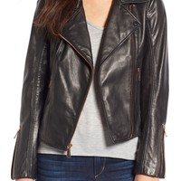 BCBGeneration Lambskin Leather Moto Jacket | Nordstrom