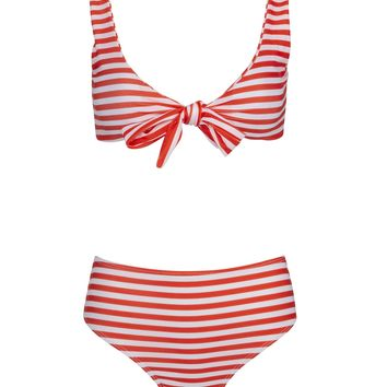 Pirate Girl Red and White Striped Two-Piece Swimsuit