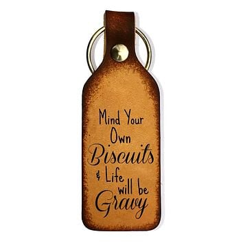 Biscuits and Gravy Leather Engraved Keychain