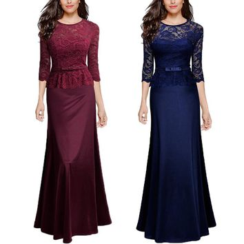 2017 Elegant Women Half Sleeve Lace Slim Ladies Maxi Long Formal Evening Party Dresses Robe Sexy Ball Gowns