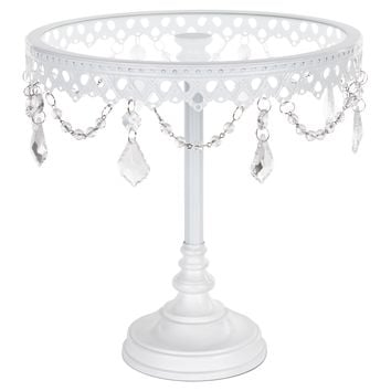 10 Inch Glass-Top Tall Metal Cake Stand with Crystals (White)