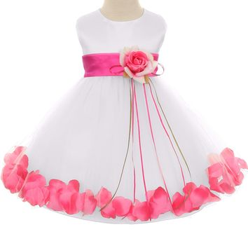 Fuchsia Flower Girls Satin & Tulle Petal Dress w. Organza Sash 3m-24m