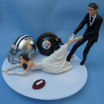Wedding Cake Topper House Divided Football Team Rivalry Themed You Pick Your Two Teams w/ Bridal Garter Humorous Sports Fan Fun Unique Top
