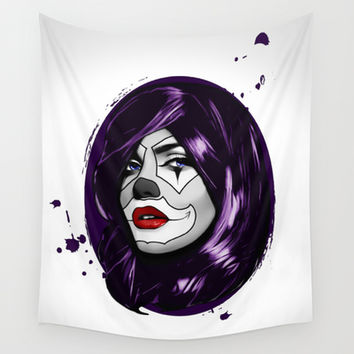 Clown Girl Wall Tapestry by Nicklas Gustafsson
