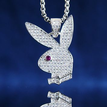 Men's Custom Bunny Pink Eye Pendant Free Box Chain
