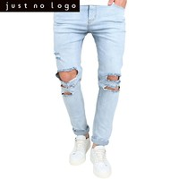 HOT!Men's Destroyed Frayed Jeans Ripped Distressed Skinny Slim Fit Denim Jeans Tapered Pencil Pants Light Bleached Blue Trousers