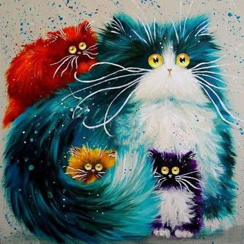 5D Diamond Painting Puff Cat Colored Collection Kit