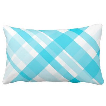 plaid pillow design in blue and white home decor