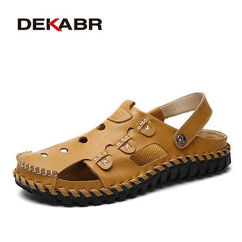 New Fashion Summer Breathable Beach Shoes Non-slip Genuine Leather Men's Sandals Slip On Men Causal Shoes