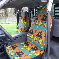 1 Set of Green Olive Navy Tribal Print Seat Covers and 1 Piece Steerling Wheel Cover  Custom Made.