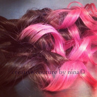 "Ombre Hair,Dip Dye Hair,  Black faded to Pastel Pink Ombre, Hair Extensions Vibrant Pink, 7 Pieces, 20""//Custom Order for Allison"