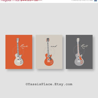 ON SALE Guitar Art, Kids Wall Art, Baby boy nursery decor, Echo Baby, Sweet Potato, in orange and gray Bedding, set of 3 printsby YassisPlac