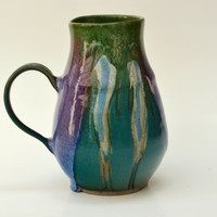 Large Purple and green Mug, Coffee Mug 26 oz, handmade ceramic Mug, Pottery coffee cup with figures.