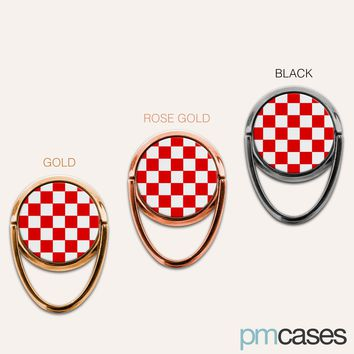 Red Checkerboard Phone Ring Finger Holder Mount Stand Grips
