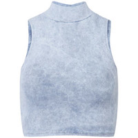 Influence Women's Acid Wash Turtle Neck Crop Top - Denim Blue/Grey Womens Clothing | TheHut.com