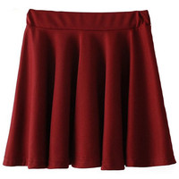 ROMWE | Elastic Pleated Deep Red Flare Skirt, The Latest Street Fashion