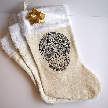 Gothic christmas Skull stocking. Ivory and White traditional holiday boot to Hang on the mantle Rockabilly Christmas gift wrap.