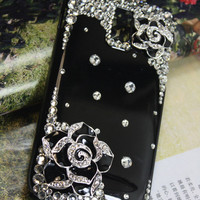 Handmade Charms Camellia Flowers Rhinestone Bling Phone Case For Samsung Galaxy W i8150 / T-mobile Exhibit II 2 4G T679