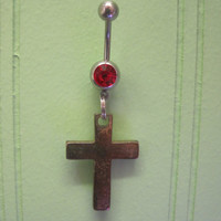 Belly Button Ring - Body Jewelry - Gold Cross with Red Gem Stone Belly Button Ring