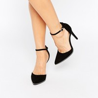 New Look Wide Fit Gold Trim Heeled Shoe