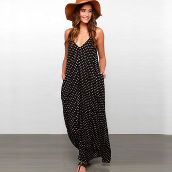 Maxi dress women dress elegant bohemian beach summer V-neck sexy maxi dress