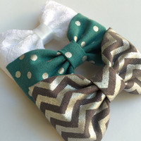 White lace, silver chevron, and teal silver dot Seaside Sparrow hair bows. Hair bow gift hair clip girl gift for her hair accessory girl