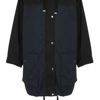 Colour Block Parka Jacket - Navy Blue