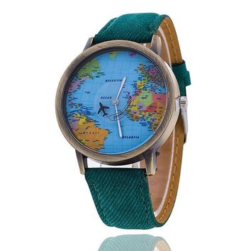 Watch Women Fashion Plane World Map Denim Fabric Band Wristwatch Casual Quartz Watch Ladies Clock Relogio Feminino Gift