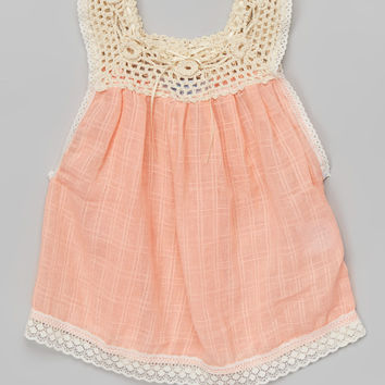 Little Cotton Dress Peach Floral Crochet Rachael Top - Infant, Toddler & Girls | zulily