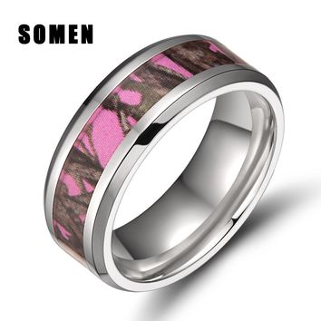 8mm Men's Titanium Ring Pink Real Tree Camo Camouflage Engagement Rings Beveled Edges Women Wedding Band Fashion Jewelry Bijoux