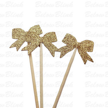 24 Glittered Gold Bow Party Picks, Toothpicks, Cupcake Toppers, Food Picks, Treat Picks - No887