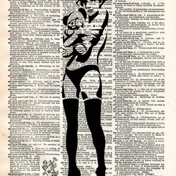 Banksy Sexy girl with teddy bear, street art vintage, dictionary page book art print