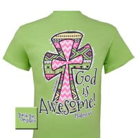 Girlie Girl Originals God is Awesome 2 Cross Christian Bright T Shirt
