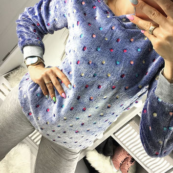 Fashion New Women Candy Color Polka Dot Hoodies Sweatshirt Autumn Comfy Fleece Long Sleeve Hooded Pullover Casual Jumper Tops