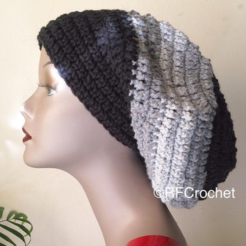 Black and Gray Beanie | Adult Slouchy Beanie | Heather Gray | Light Gray | Men | Women | FREE Shipping in USA | Bad Hair Day Hat