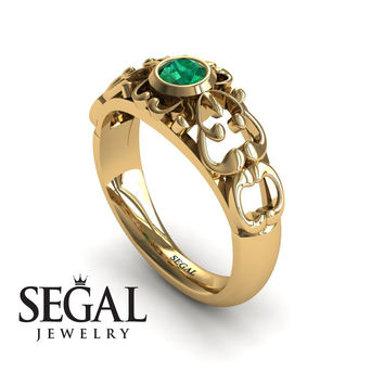 Unique Engagement Ring 14K Yellow Gold Vintage Filigree Ring Green Emerald - Makayla